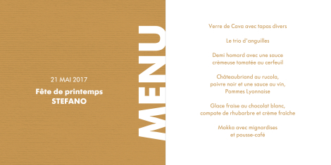 Carte de menu au design typographique